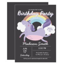 Cute Rainbow Unicorn Birthday Party Invitation