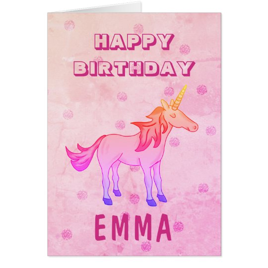 cute rainbow unicorn happy birthday name card  zazzle
