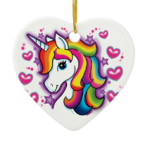 Cute Rainbow Unicorn Horse with Stars Hearts Ceramic Ornament