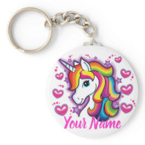 Cute Rainbow Unicorn Horse with Stars Hearts Keychain