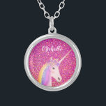 """Cute Rainbow Unicorn Pink Glitter Personalized Silver Plated Necklace<br><div class=""""desc"""">Put a smile on a girl's face with this Cute Rainbow Unicorn Pink Glitter Personalized Silver Plated Necklace.  It is designed with a pink faux glitter backgroud and a white unicorn with a rainbow mane.  Name is in white calligraphy script lettering. Click personalize template option and enter name</div>"""
