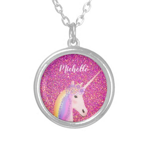 Cute Rainbow Unicorn Pink Glitter Personalized Silver Plated Necklace