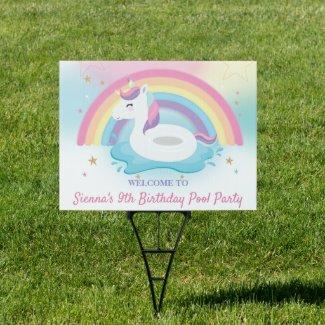 Cute Rainbow Unicorn Pool Birthday Party Welcome   Sign