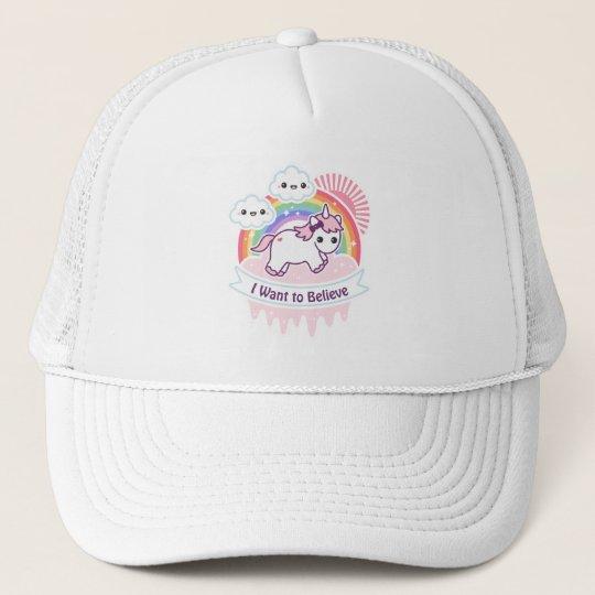 4e1f94f3 Cute Rainbow Unicorn with Clouds Trucker Hat | Zazzle.com
