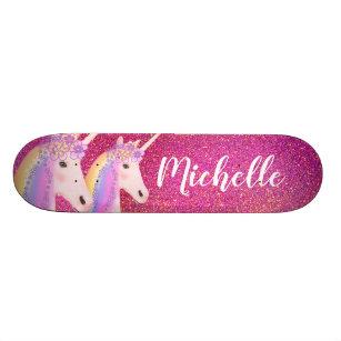Cute Rainbow Unicorns Pink Glitter Personalized Skateboard