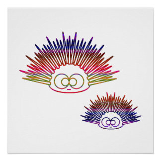 Cute Rainbow Urchins Poster