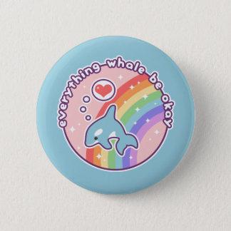 Cute Rainbow Whale Pinback Button