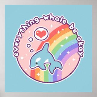 Cute Rainbow Whale Poster