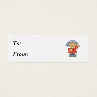 Cute Rainy Day Bear Mini Business Card