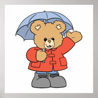 Cute Rainy Day Bear Poster