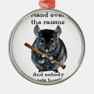 Cute Raisin Mean Chinchilla Metal Ornament