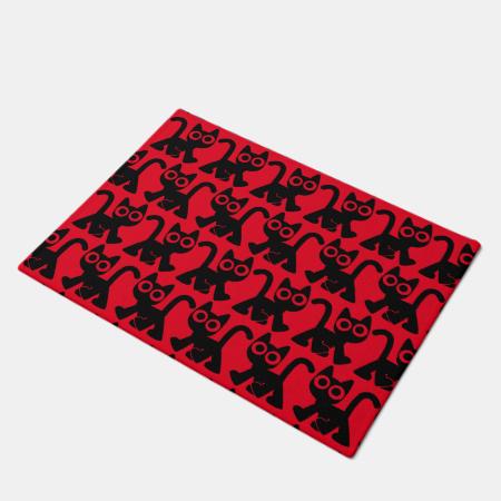 Cute Rambling Cartoon Cat Doormat