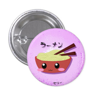 Cute Ramen Noodle Bowl Pinback Button
