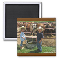 Cute Ranch Kids and Roping Cattle - Western Magnet