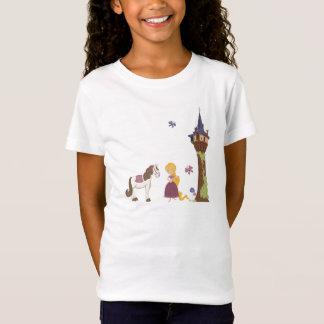 Cute rapunzel tower and horse girl's t-shirt