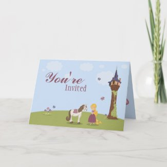 Cute rapunzel tower girl's birthday party invite card