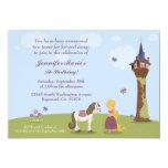 "Cute rapunzel tower girl's birthday party invite 5"" x 7"" invitation card"