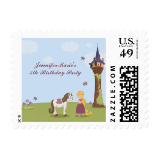 Cute rapunzel tower girl's birthday party stamp