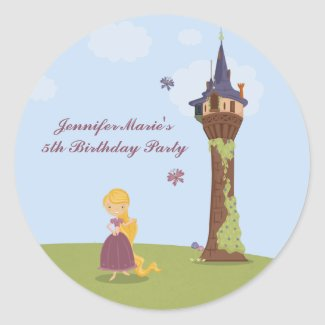 Cute rapunzel tower girl's birthday party stickers sticker
