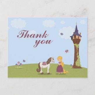 Cute rapunzel tower girl's thank you post card postcard