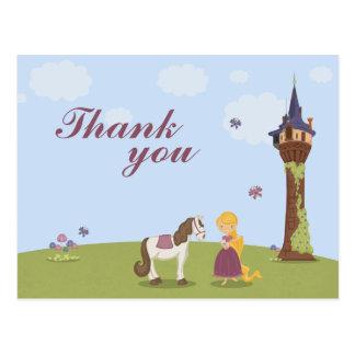 Cute rapunzel tower girl's thank you post card