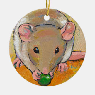 Cute rat adorable pet fun art Cuteness with a Pea Christmas Tree Ornament