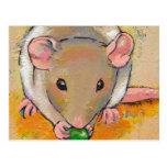 Cute rat adorable pet fun art Cuteness with a Pea Post Card