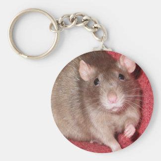 Cute Rat Basic Round Button Keychain