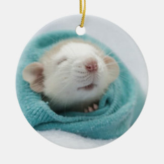 Cute Rat Double-Sided Ceramic Round Christmas Ornament