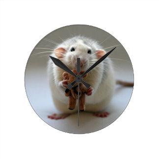 Cute Rat Holding teddy Wall Clocks