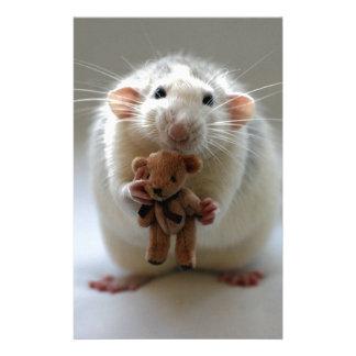 Cute Rat Holding teddy Stationery