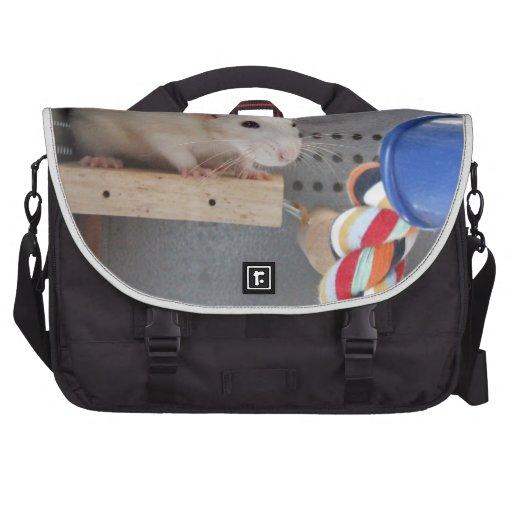 Cute rat in cage laptop shoulder bag