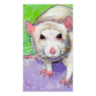Cute rat listening fun colorful pet art white rats business card template
