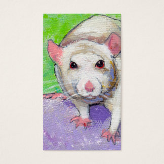 Cute rat listening fun colorful pet art white rats business card