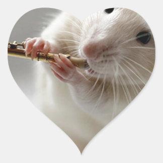 Cute rat playing flute heart sticker