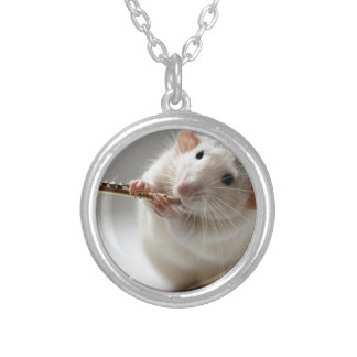 Cute rat playing flute necklace