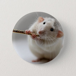 Cute rat playing flute pinback button