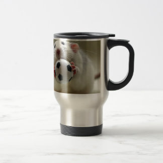Cute rat playing soccer travel mug