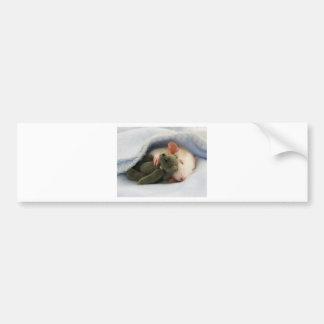 cute rat sleeping with teddy bumper sticker