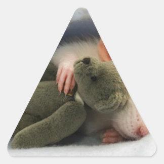cute rat sleeping with teddy triangle sticker