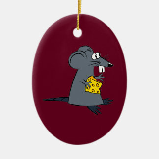 Cute Rat With Cheese Ceramic Ornament