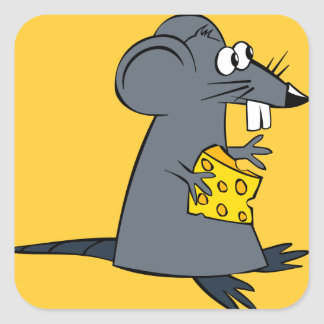Cute Rat with Cheese Square Sticker