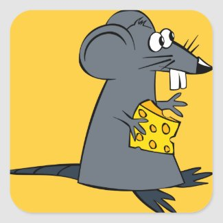 Cute Rat with Cheese Stickers