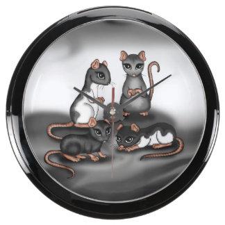 cute Rats aqua clock Aqua Clocks