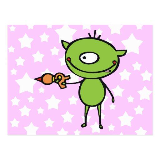 Cute Ray Gun Alien Postcard