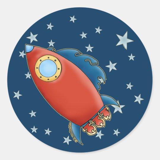 Cute Rd Rocket & Stars Stickers