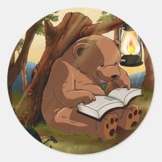 Cute Reading Bear Classic Round Sticker