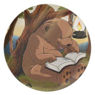 Cute Reading Bear Party Plates