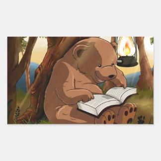 Cute Reading Bear Rectangular Sticker