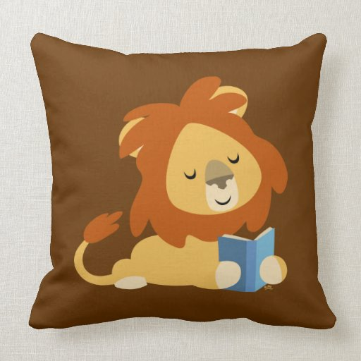 Cute Lion Pillow : Cute Reading Cartoon Lion Pillow Zazzle